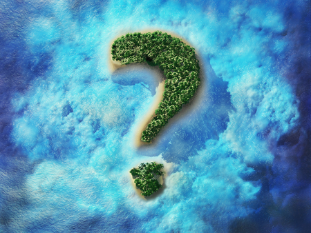 Question mark shaped tropical island. An island in the shape of a question mark. Travel 3D illustration.