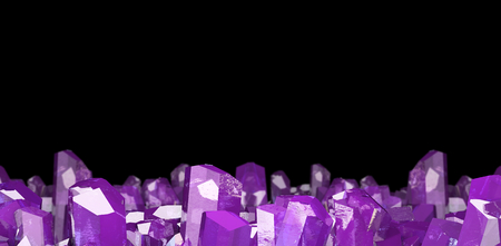3D illustration of crystal stone macro mineral. Amethyst quartz crystals on black background.
