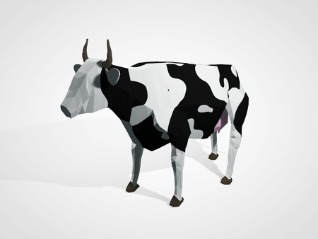 holstein: 3D illustration of origami cow. Polygonal geometric style cow standing full-length Holstein black and white cow