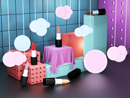 Lipstick showcase cube displays. Cosmetics exhibition space. Colorful showroom with open lipsticks. 3D illustration