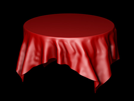 Red silk round table cloth mockup isolated on black. 3D illustration