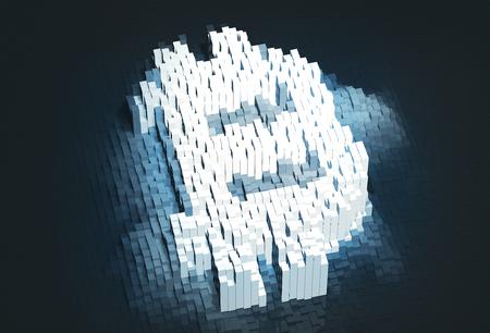 ピクセルビットコイン記号。Cyptocurrency コンセプト。デジタルマネーシンボル。3D イラストレーション 写真素材