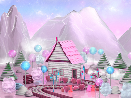 dream land: Sweet candy house surrounded by lollipop, candy canes and caramels. Fantasy food landscape 3D illustration Stock Photo