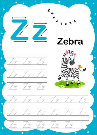 Colorful letter O Uppercase and Lowercase alphabet A-Z, Tracing and writing daily printable A4 practice worksheet with cute cartoon animals - vector illustration exercise for kids Ilustração
