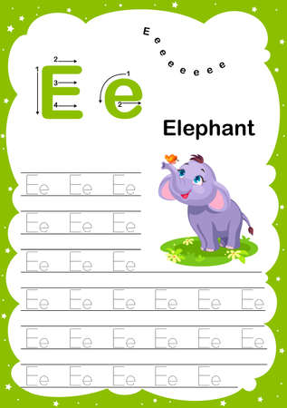 Colorful letter P Uppercase and Lowercase alphabet A-Z, Tracing and writing daily printable A4 practice worksheet with cute cartoon animals - vector illustration exercise for kids