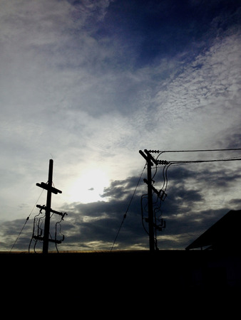 sub station: Silhouette electric wire  and post