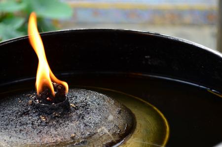 red oil lamp: Flame on lamp oil light