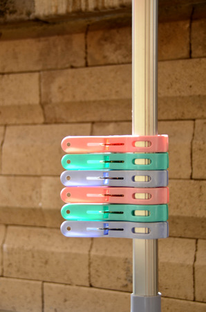 clothe: Pastal plastic clothes pin on clothe line