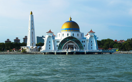 straits: Front view of Malacca Straits Mosque nearly sunset time Stock Photo