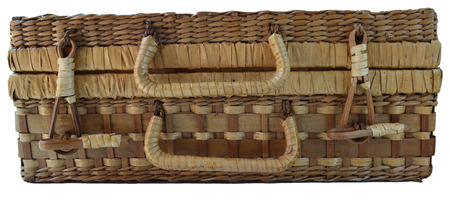 basketry: Isolated Bamboo Basketry Chest On White Background