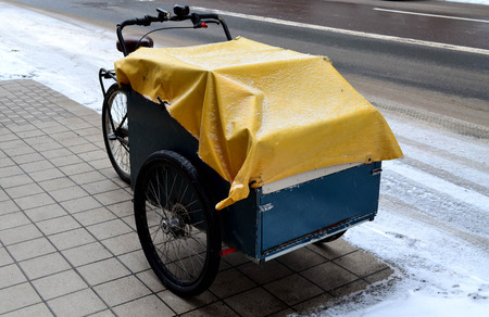 wagon: Cart covered with canvas parking beside the street in winter