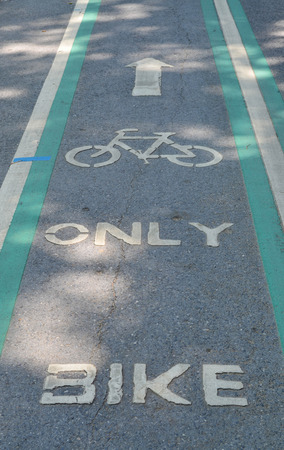 stated: Bicycle lane on asphalt road with word stated BIKE ONLY  under shade and sun light - sport and healthy lifestyle concept