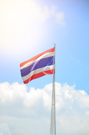 metal post: Thai flag on metal post with blue sky background