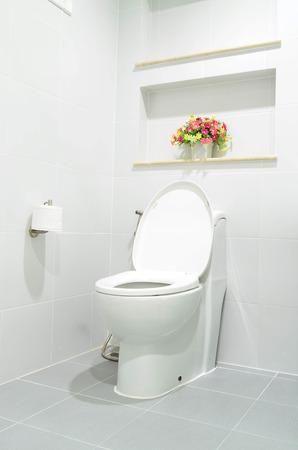 flush: White modern flush toilet bowl - bathroom interior Stock Photo