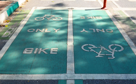 stated: Grunge green bicycle lane on asphalt road with word stated Bike Only  under shade and sun light - sport and healthy lifestyle concept