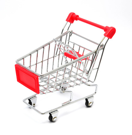 Empty shopping cart isolated on white background - business and finance concept