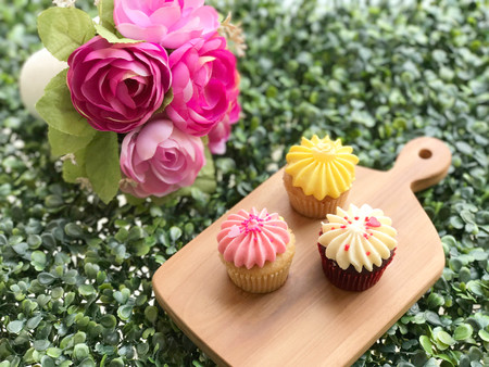Colorful cupcake on wooden board and green nature blurred background - vintage style Stock Photo