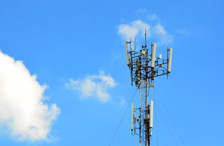 Telecommunication tower agaist blue sky day