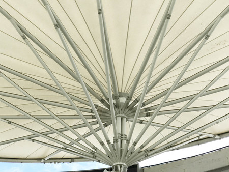 Bottom view of white canvas roof, architecture concept