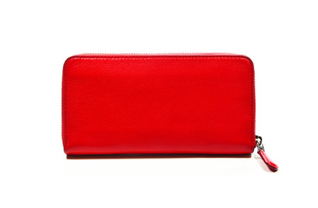 Red female leather wallet with zipper isolated on white background