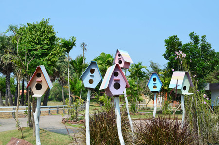 Multi color of wooden bird house on white wooden pole, pastel color