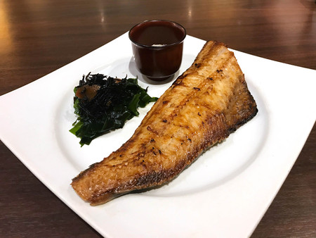 Japanese cuisine, Set of charcoal grilled Atka Mackerel or Shima Hokke on white  plate