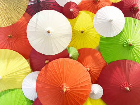Colorful of Northern of Thai style handmade umbrella Stock fotó