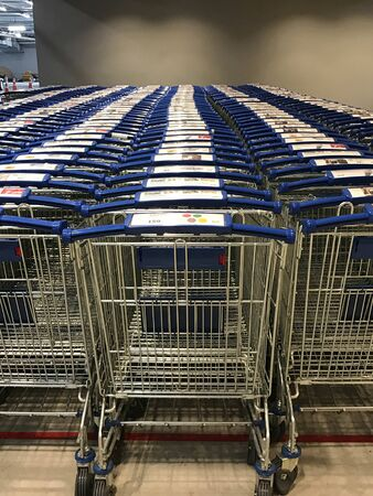 Row of shopping cart in department store