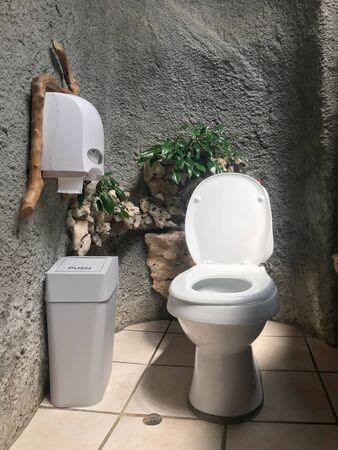 White modern flush toilet bowl decorated in natural theme - bathroom interior
