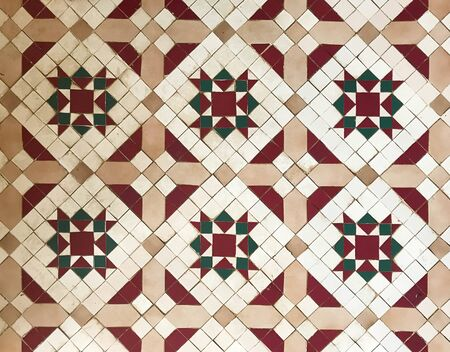 Ancient vintage isometric tile wall or floor  in christmas theme color for background and texture Reklamní fotografie