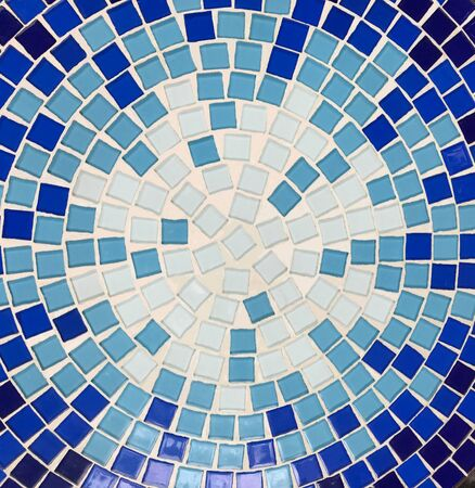 Round blue tile mosaic for background and texture, top view Stok Fotoğraf