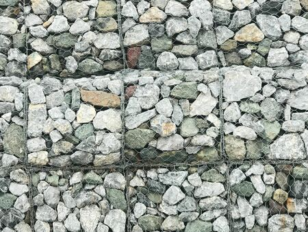 Granite stone wall of wire mesh granite basket barrier for collapse protection and prevention