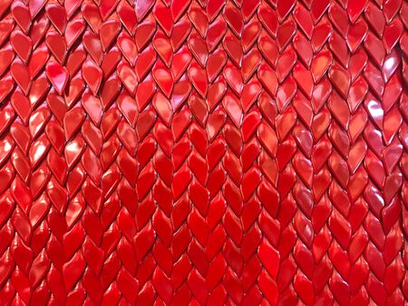 Polish red pvc plait woven look like heart shape for background and texture, valentine concept