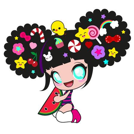 Chica kawaii lindo con la sandía y un montón de pins divertidas en la cabeza con pollo Foto de archivo - 29516708