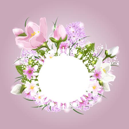 Beautiful floral arrangement with a banner of butterflies Vector