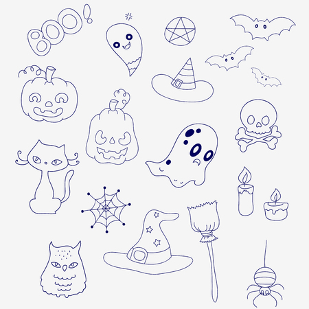 pentacle: Halloween set in doodle style. Ghosts, pumpkins and hats. Illustration