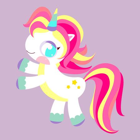 Pony Unicorn. Magic rainbow unicorn. Unicorn toy with multi-colored mane. Childrens character. Illustration
