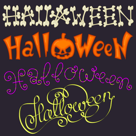 horrible: Scary and horrible inscription for Halloween with colored letters. Illustration