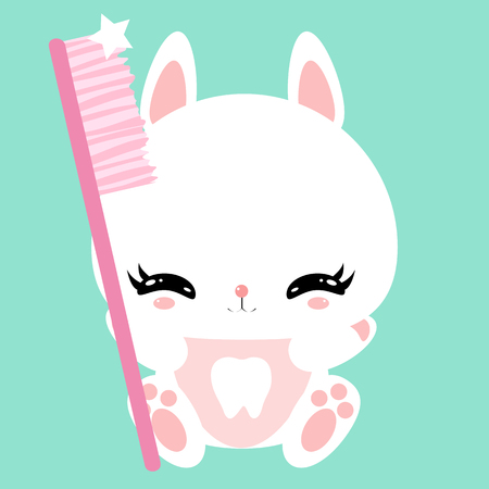 Cute little bunny with a toothbrush. Teeth cleaning. Childrens character. Poster.