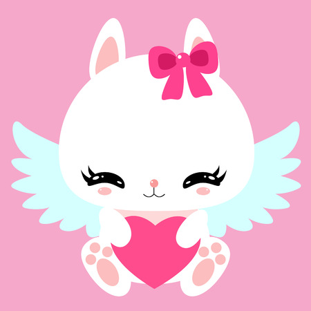 Little cute white bunny with angel wings and heart. Valentine's Day. Greeting card. Children's character.