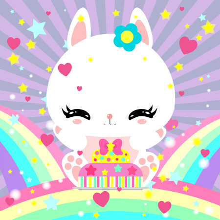 Little cute white bunny with a cake on a rainbow. Magic world. Birthday. Greeting card. Childrens poster.