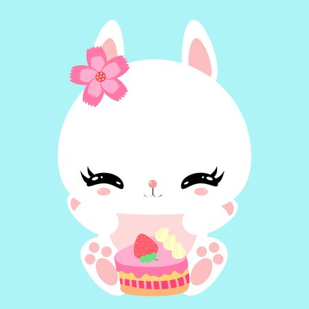 petit lapin mignon avec un gâteau de fête. Bon anniversaire. Impression. Affiche. Carte de voeux. le caractère des enfants.