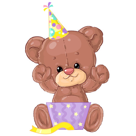 Cute little teddy bear with gift box and balloons. Birthday greeting card. Happy moment. Congratulation. Children's character. Banque d'images - 116118674