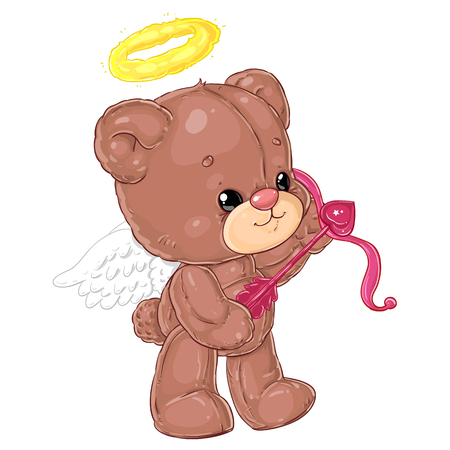 Cute little angel teddy bear with arrow of cupid. Greeting card with St. Valentine's Day. Plush friend.