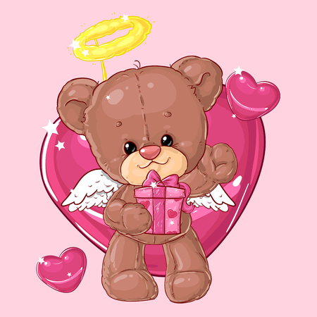 Teddy bear. Children's character. Gift card. Happy birthday or valentine's day greeting card. Banque d'images - 116118682