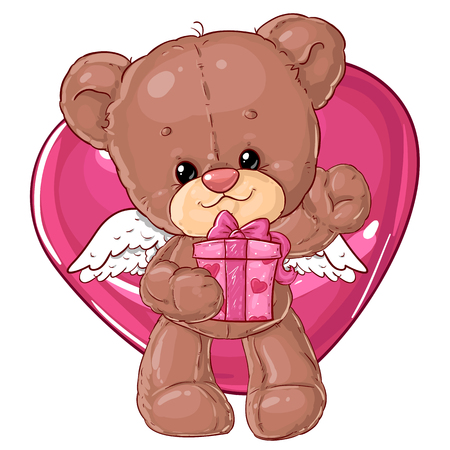 Teddy bear. Children's character. Gift card. Happy birthday or valentine's day greeting card. Banque d'images - 116118693