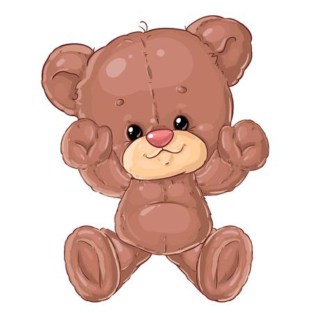 Cute little teddy bear. Hugs teddy. Children's character. Plush friend. Banque d'images - 116119543