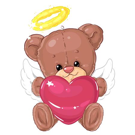 Simpatico angioletto orsetto con grande cuore rosa. Biglietto d'auguri. San Valentino. Amico di peluche.