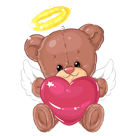 Cute little teddy bear angel with big pink heart. Greeting card. Valentine's day. Plush friend. Illustration