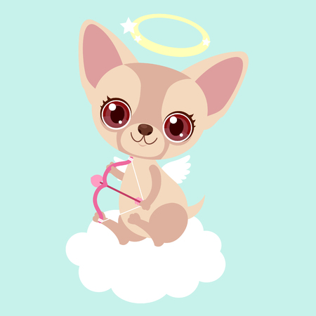 Cute chihuahua Cupid with bow and arrow. Funny sticker for a gift. Character for birthday or valentine's day. Children's character. Ilustração